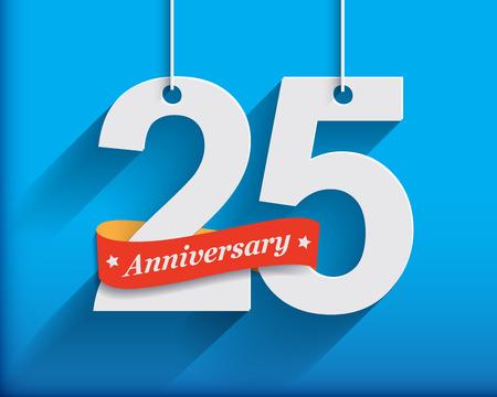 anniversaire: 25 numéros d'anniversaire avec du ruban. Appartement style origami avec une longue ombre. Vector illustration