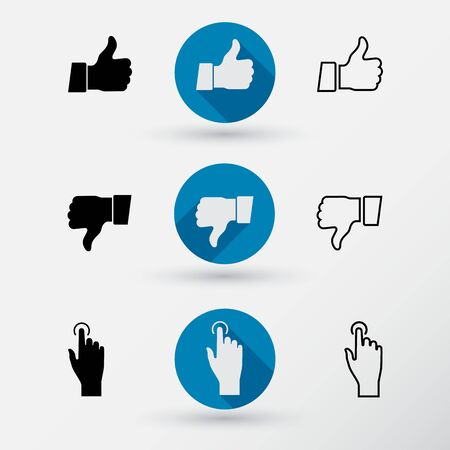 pressed: Thumb down applique.  Thumb up applique.  Touch icon, hand with pressed finger in flat style. Stock Photo