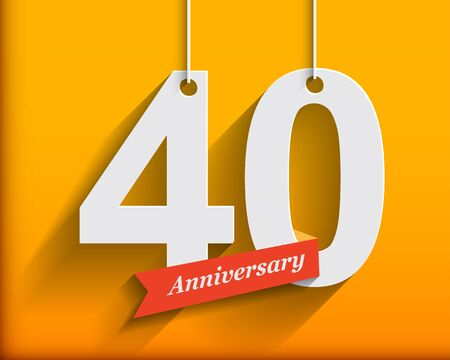 origami numbers: 40 Anniversary numbers with ribbon. Flat origami style with long shadow. Vector illustration