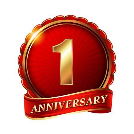1 year anniversary: 1 year anniversary golden label with ribbon. Stock Photo