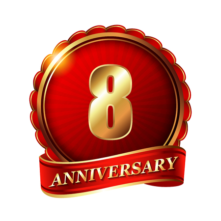8 years: 8 years anniversary golden label with ribbon. Stock Photo