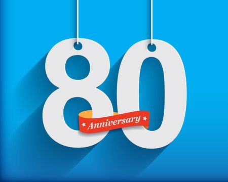 origami numbers: 80 Anniversary numbers with ribbon. Flat origami style with long shadow. Vector illustration Stock Photo