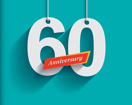 long shadow: 60 Anniversary numbers with ribbon. Flat origami style with long shadow. Vector illustration