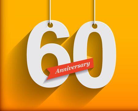 anniversary: 60 aniversario numera con la cinta. estilo origami plana con una larga sombra. ilustraci�n vectorial