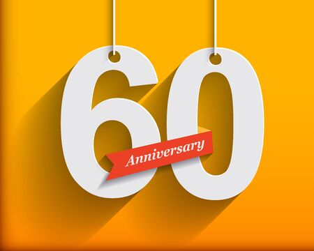 anniversary: 60 Anniversary numbers with ribbon. Flat origami style with long shadow. Vector illustration