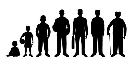Generatie van de mannen van baby's tot senioren. Baby, kind, tiener, student, zakenlui, volwassen en senior man.