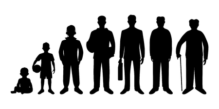 aging: Generation of men from infants to seniors. Baby, child, teenager, student, business men, adult and senior man.