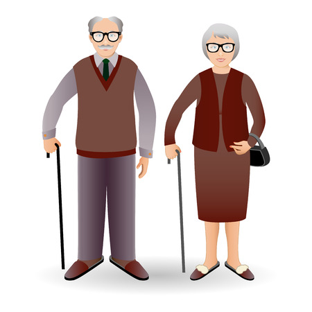 old man standing: Full length portrait of an handsome old man standing with cane and nice old woman standing with cane.