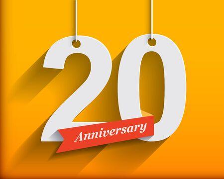 anniversaire: 20 numéros d'anniversaire avec du ruban. Appartement style origami avec une longue ombre. Vector illustration