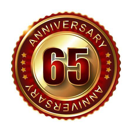 65: 65 Years anniversary golden label. Stock Photo