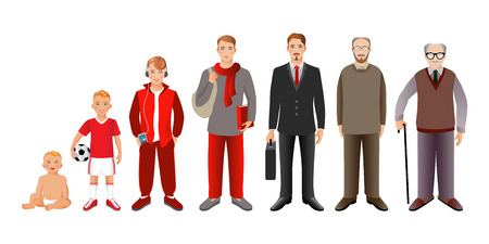 Generation of men from infants to seniors. Baby, child, teenager, student, business men, adult and senior man. Realistic images isolated on white background.