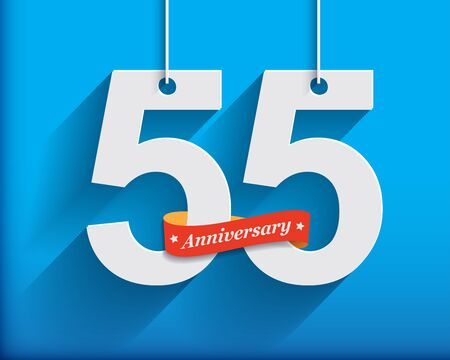 origami numbers: 55 Anniversary numbers with ribbon. Flat origami style with long shadow. Vector illustration