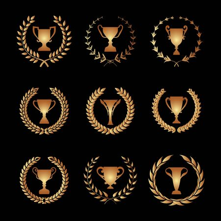 foliate: Winner Trophy Cup Silhouette Set with circular laurel foliate and wheat wreath. Stock Photo