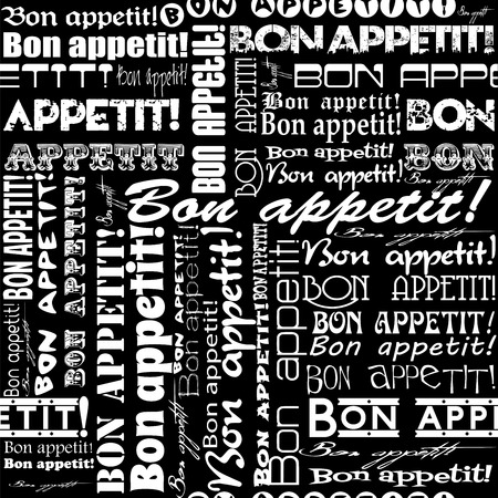 interiors: Seamless Bon appetit! pattern for the decoration and interiors of cafes, restaurants and bars. Stock Photo