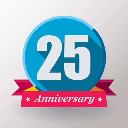 aniversario: etiqueta 25 Aniversario con un diseño ribbon.Flat. Foto de archivo