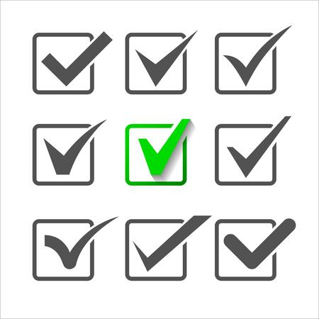 Validatie iconen set van negen verschillende vinkjes.