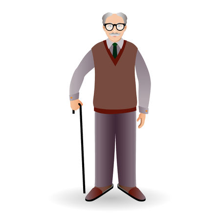 handsome old man: Full length portrait of an handsome old man standing with cane isolated on white background.Realistic image.Full body man isolated on white background.