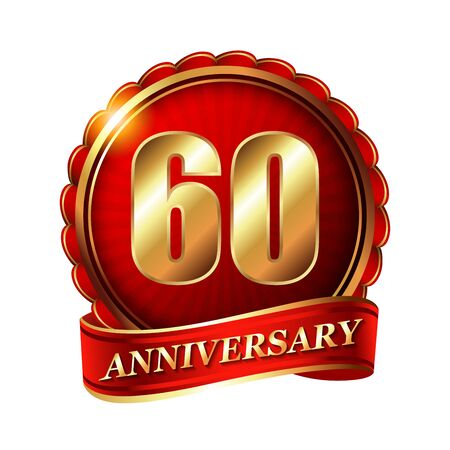 60 years: 60 years anniversary golden label with ribbon.