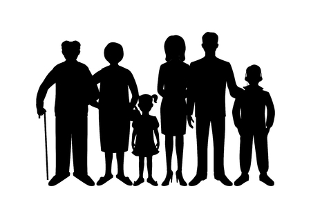 grandmother mother daughter: Big happy family. Father, mother, son, daughter, grandfather, grandmother, baby. Generation. Realistic images isolated on white background. Stock Photo