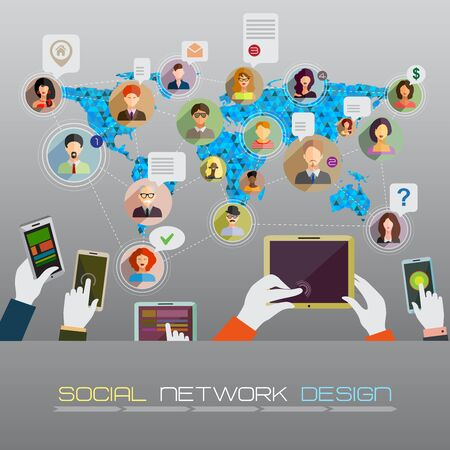 advertising network: Social network concept. Flat design for web sites and infographic design. Earth Geometric Map.