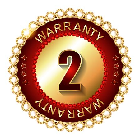 2 years: 2 years warranty golden label with ribbon. Vector illustration.