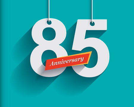 85 Anniversary numbers with ribbon. Flat origami style with long shadow. Vector illustration