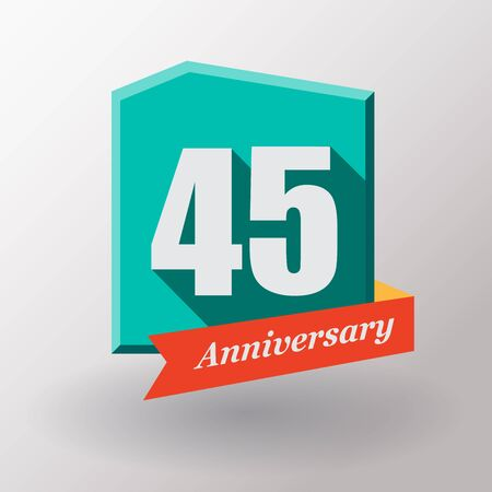 45: 45 Anniversary   label with ribbon. Flat design.