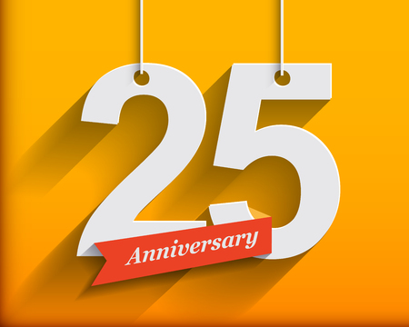 anniversary: 25 Anniversary numbers with ribbon. Flat origami style with long shadow. Vector illustration