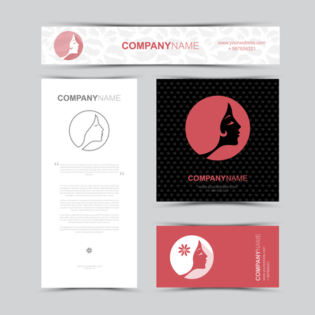 Template of identity for Beauty Salon.  Business card, banner and brochure template.  Set of woman fashion icons and logos. Contour lines. Flat design. Seamless lips and hearts pattern and background. Vector illustration.