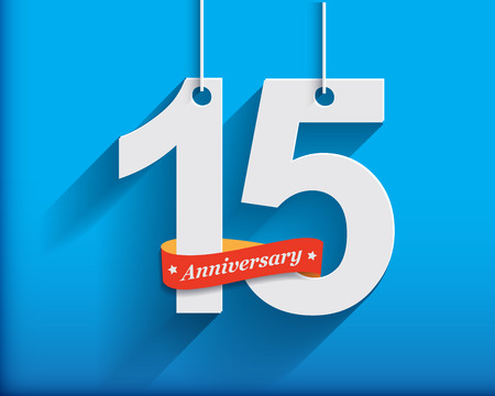 15 Anniversary numbers with ribbon. Flat origami style with long shadow. Vector illustration