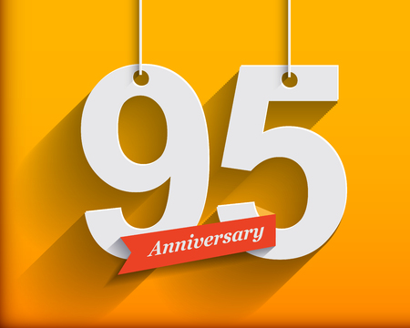 95: 95 Anniversary numbers with ribbon. Flat origami style with long shadow. Vector illustration
