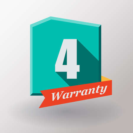 warranty: 4 years warranty label. Flat design.
