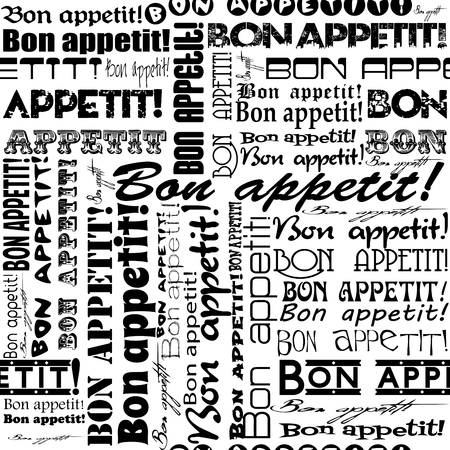 Seamless Bon appetit! pattern for the decoration and interiors  of cafes, restaurants and bars.