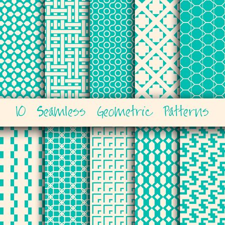Grunge Seamless Geometric Patterns Set.  Vector illustration