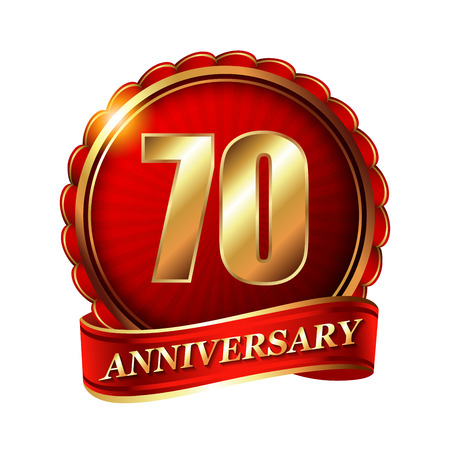 70 years: 70 years anniversary golden label with ribbon.