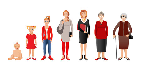 Generation of woman from infants to seniors. Baby, child, teenager, student, business woman, adult and senior woman. Realistic images isolated on white background. 写真素材