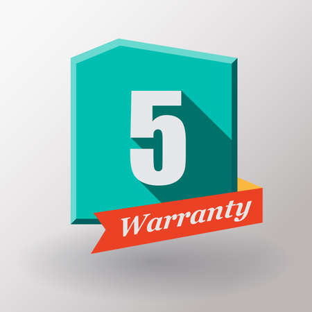 5 years: 5 years warranty label. Flat design. Stock Photo