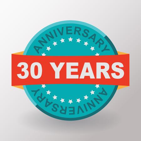 30: 30 Anniversary label with ribbon. Flat design. Stock Photo