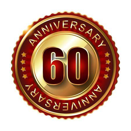 60: 60 Years anniversary golden label. Stock Photo