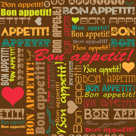 bon: Seamless Bon appetit! pattern for the decoration and interiors  of cafes, restaurants and bars.