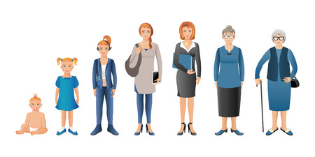 Generation of woman from infants to seniors. Baby, child, teenager, student, business woman, adult and senior woman. Realistic images isolated on white background. Stockfoto