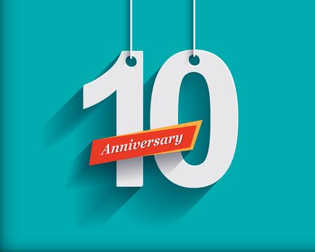 10 number: 10 Anniversary numbers with ribbon. Flat origami stylen with long shadow. Vector illustration