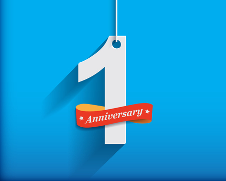 1 Anniversary number with ribbon. Flat origami style with long shadow. Vector illustration 스톡 콘텐츠