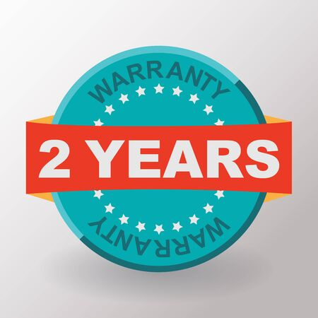 2 years: 2 years warranty label with ribbon. Flat design.