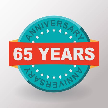 65th: 65 Anniversary label with ribbon. Flat design. Stock Photo
