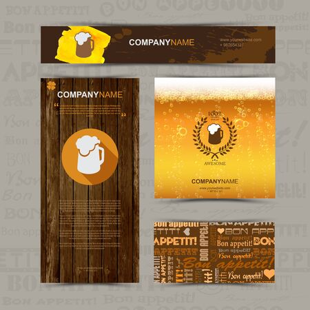 beer card: Template of identity for beer restaurant, cafe, bar. Business card, banner, pattern, brochure template.  Beer mug flat logo and logo with circular foliate. Beer background with foam and bubbles.