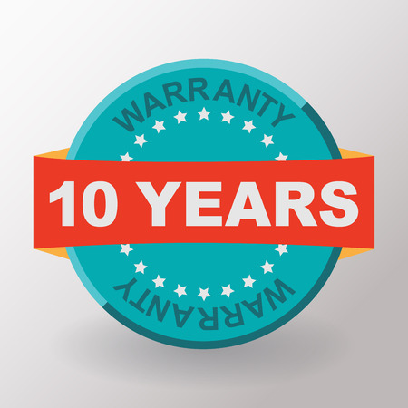 10 years: 10 years warranty label with ribbon. Flat design.