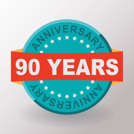 90th: 90 Anniversary label with ribbon. Flat design. Stock Photo