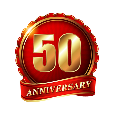 congratulations card: 50 years anniversary golden label with ribbon.