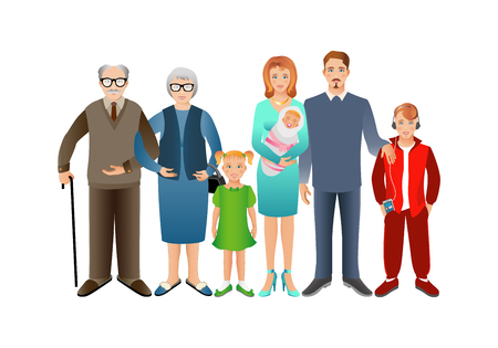 mom and son: Big happy family. Father, mother, son, daughter, grandfather, grandmother, baby. Generation. Realistic images isolated on white background. Stock Photo